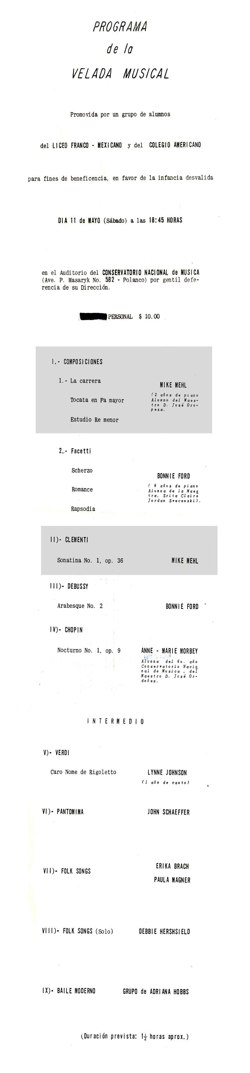 1966_Michael-Mehl-Recital_Conservatorio-Nacional