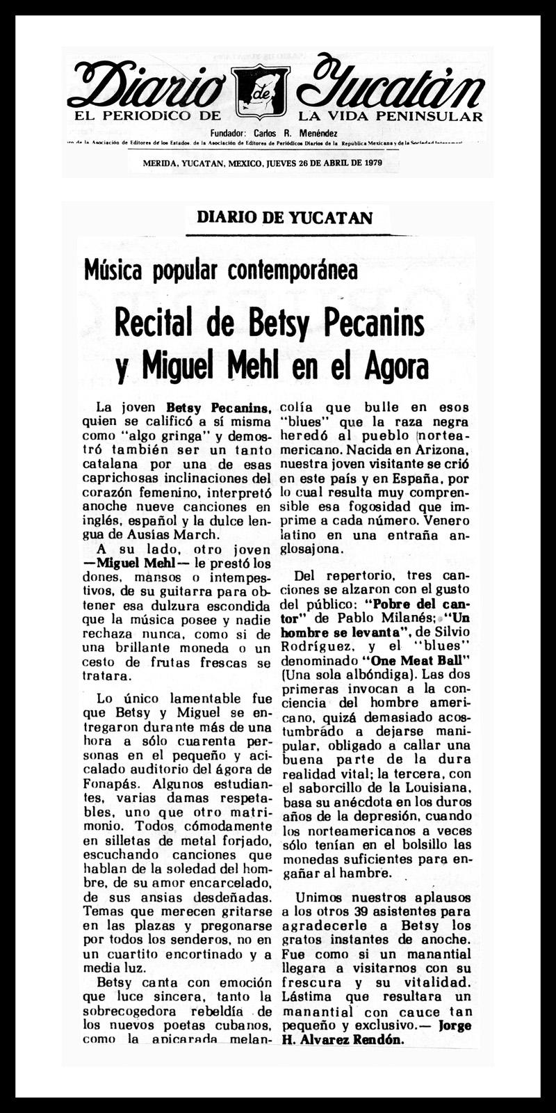 1979_Diario-De-Yucatan_Michael-Mehl_Betsy-Pecanins_Fonagora-Concert