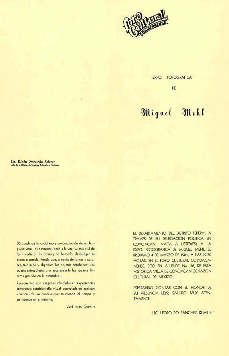1981_Michael-Mehl_Photographs-Exhibit_Foro-Cultural-Coyoacanense