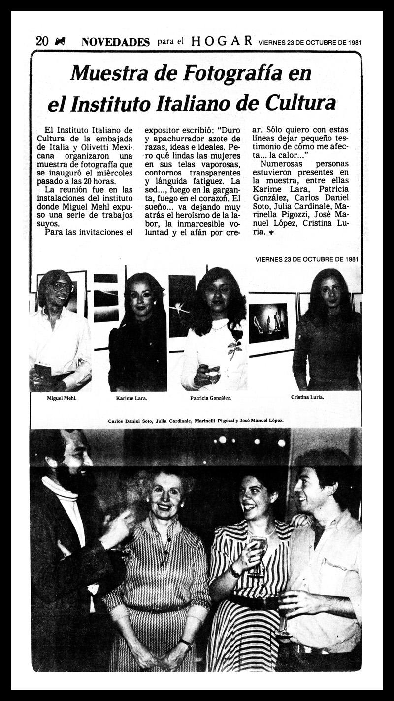 1981_Novedades_Michael-Mehl_La-Calor-Exhibit_Centro-Olivetti