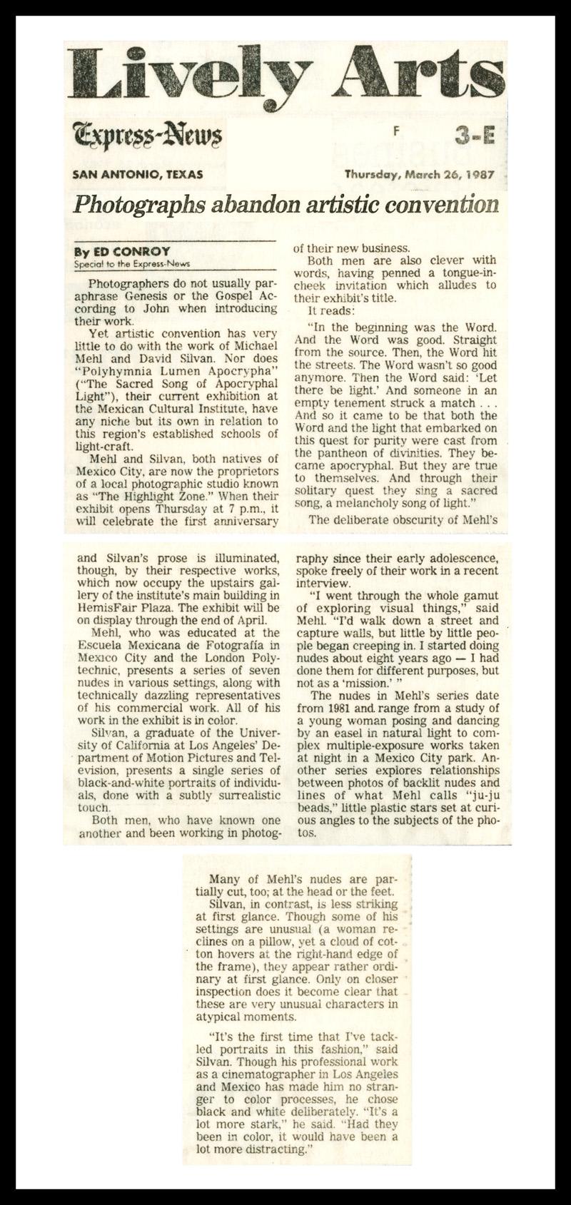 1987_San-Antonio-Express_News_Michael-Mehl_Polyhymnia-Lumen-Apochrypha-Exhibit