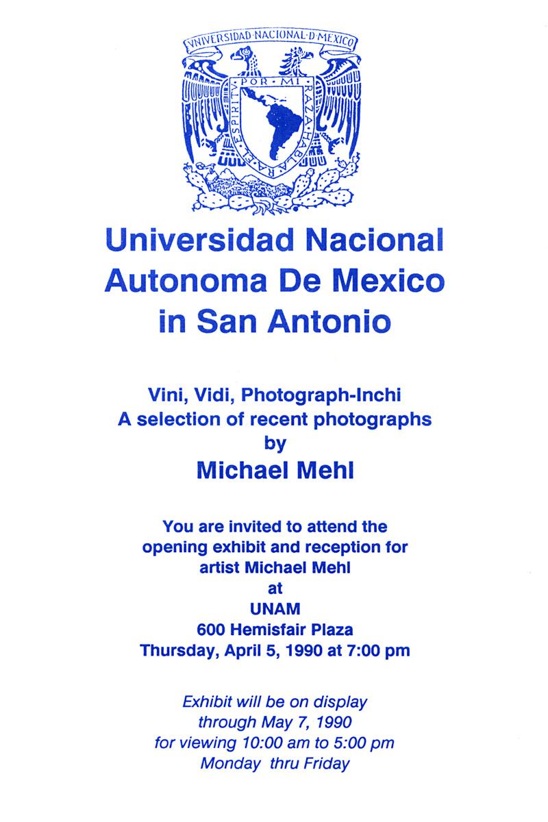 1990_Michael-Mehl_Vini-Vidi-Photographinchi-Exhibit_UNAM-San-Antonio
