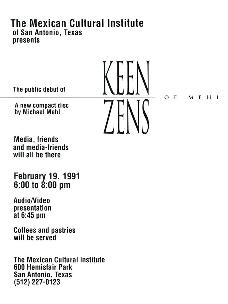 1991_Michael-Mehl_Keen-Zens-Of-Mehl_CD-Release_Mexican-Cultural-Institute
