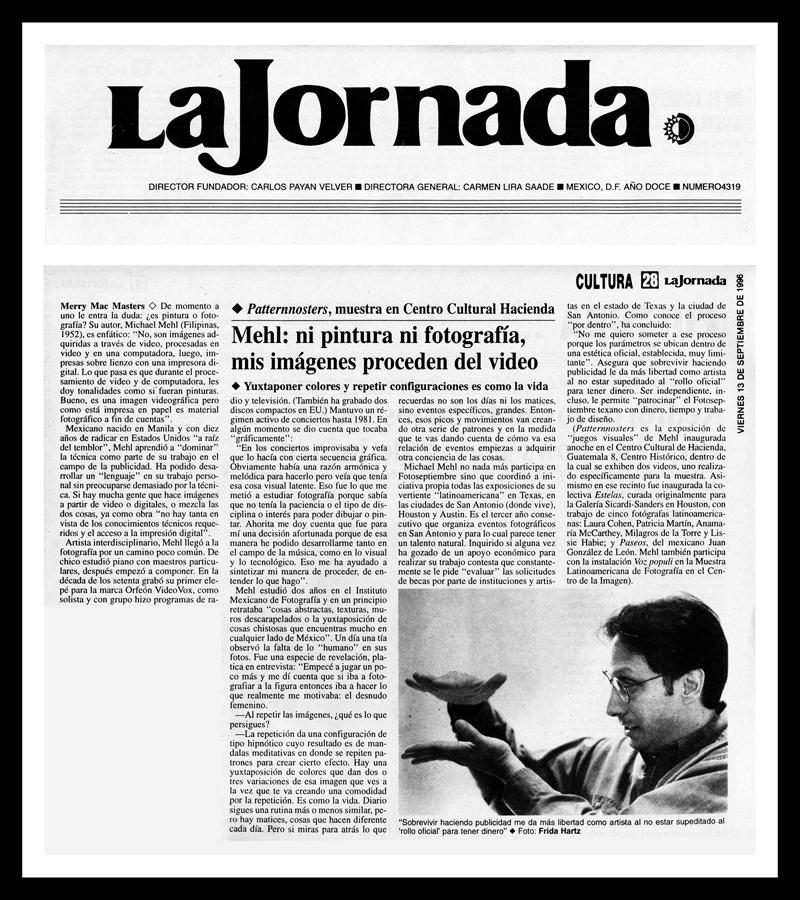 1996_La-Jornada_Michael-Mehl_Patternosters-Exhibit_Centro-Cultural-Hacienda