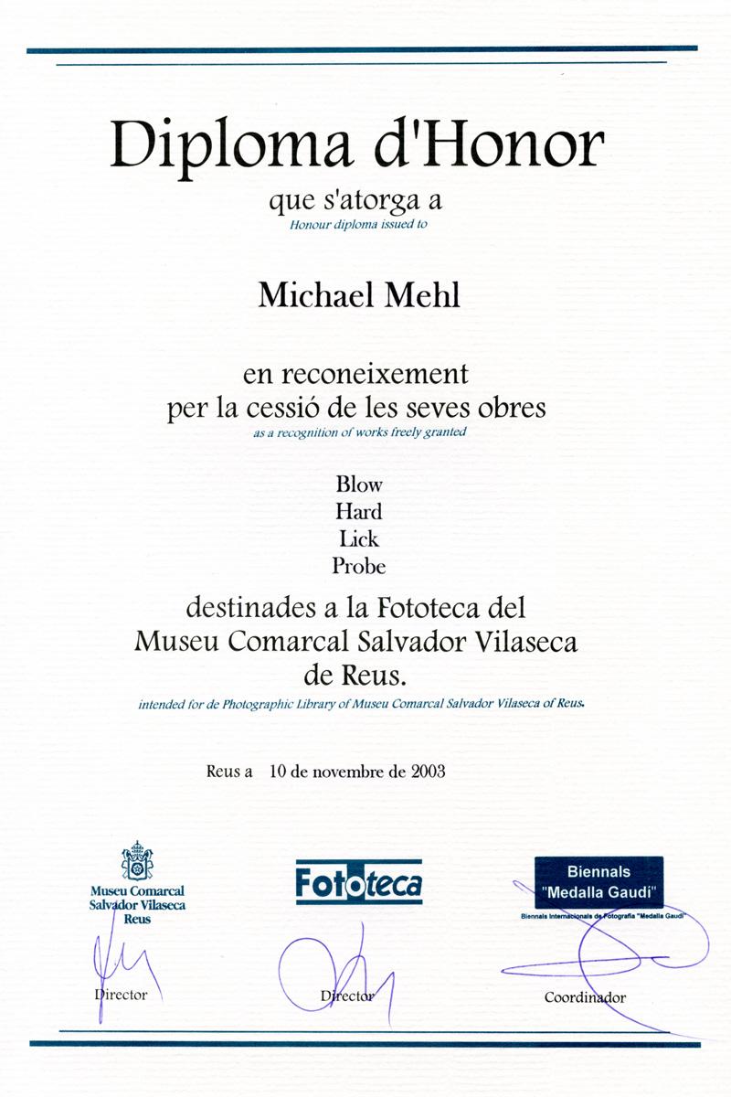 2003_Michael-Mehl_Medalla-Gaudi-Biennial_Reus-Catalunya-Spain