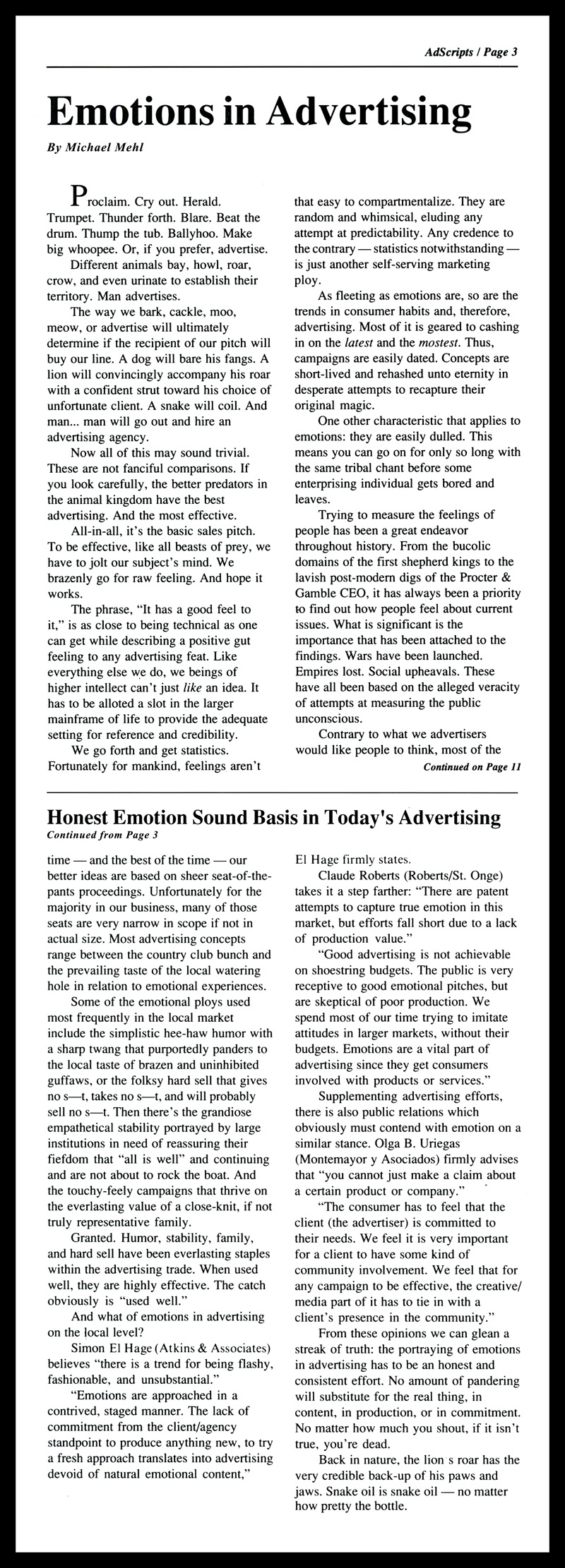 1988_Michael-Mehl_Emotions-In-Advertising_Article-In-Ad-Scripts-Magazine