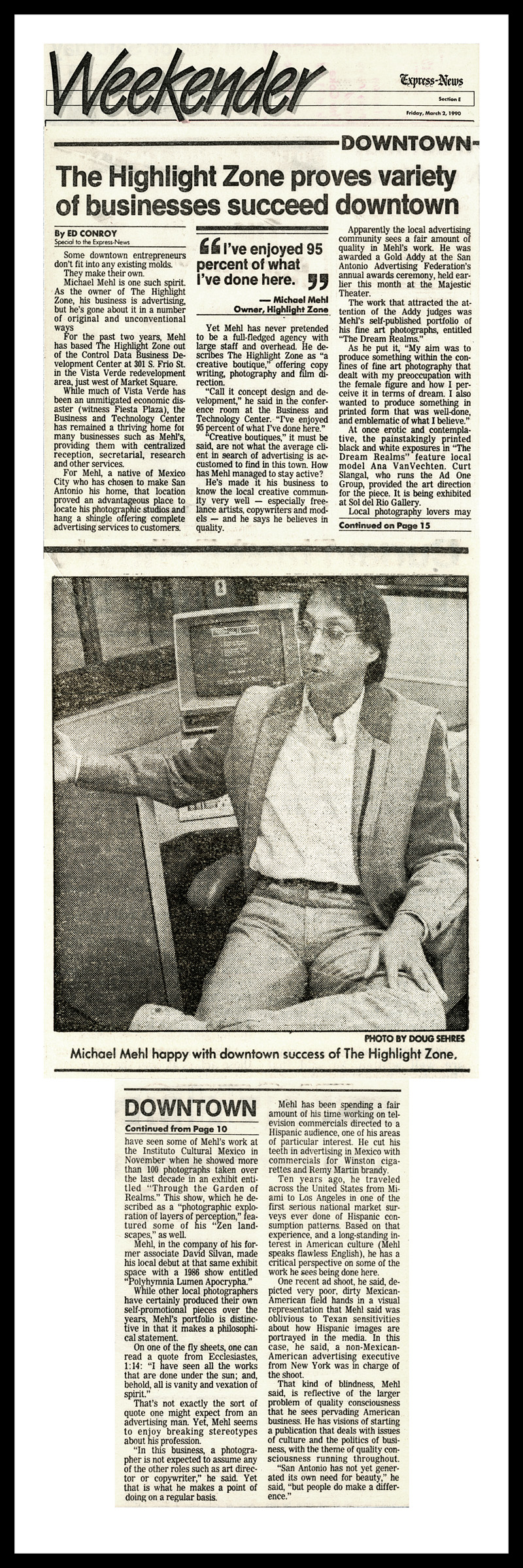 1990_Michael-Mehl_San-Antonio-Express-News_Downtown-Creative