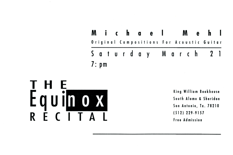 1991_MIchael-Mehl_The-Equinox-Recital_Guitar-Concert_King-William-Bookhouse