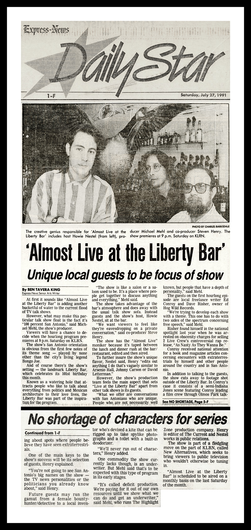 1991_Michael-Mehl_San-Antonio-Express-News-Daily-Star_Almost-Live-From-The-Liberty-Bar-TV-Show-On-KLRN-TV