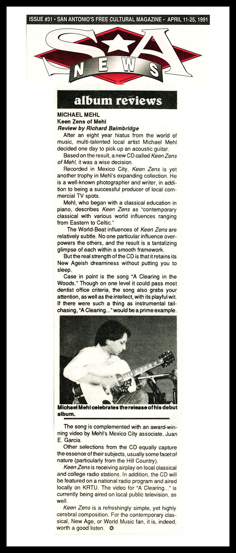 1991_SANews_Michael-Mehl_Keen-Zens-Of-Mehl_CD-Review