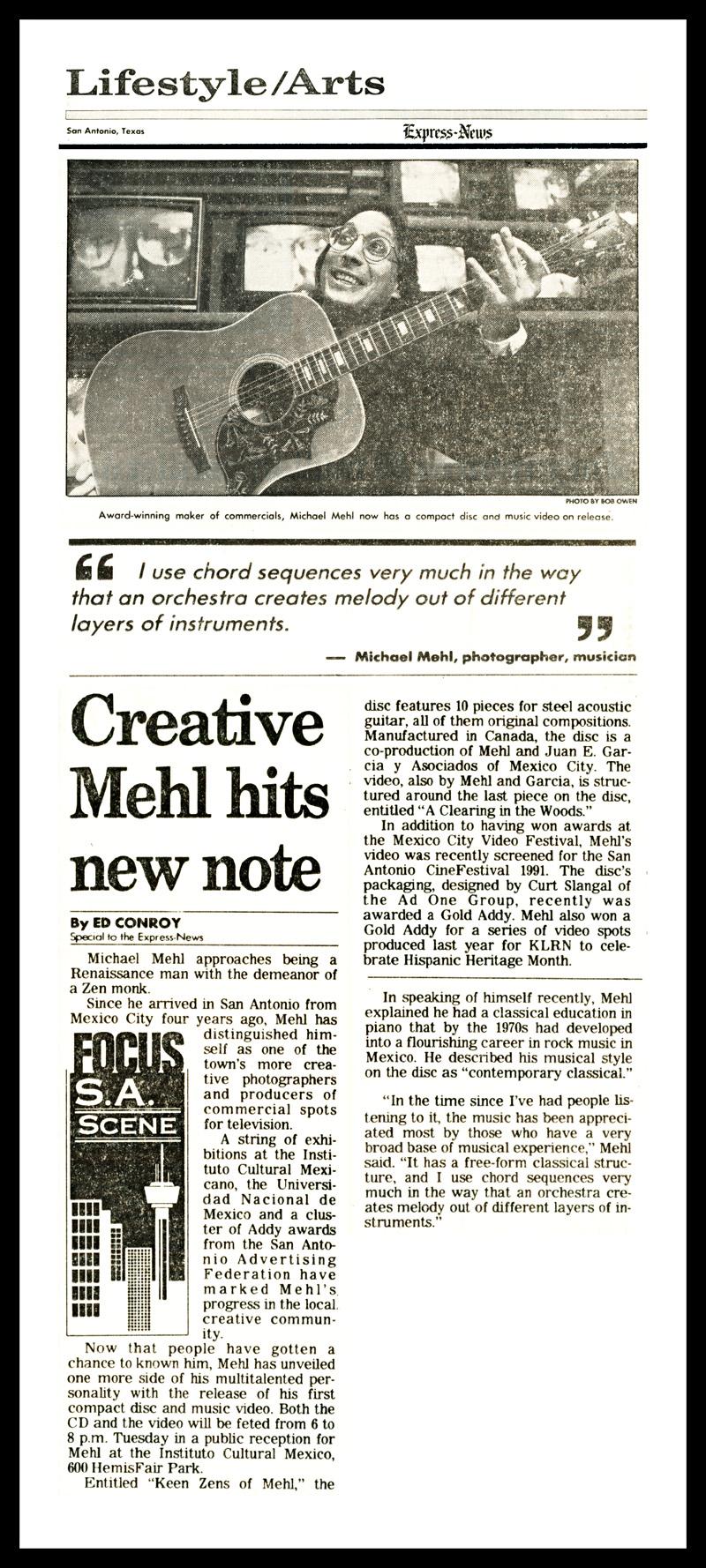 1991_San-Antonio-Express-News_Michael-Mehl_Keen-Zens-Of-Mehl_CD-Release