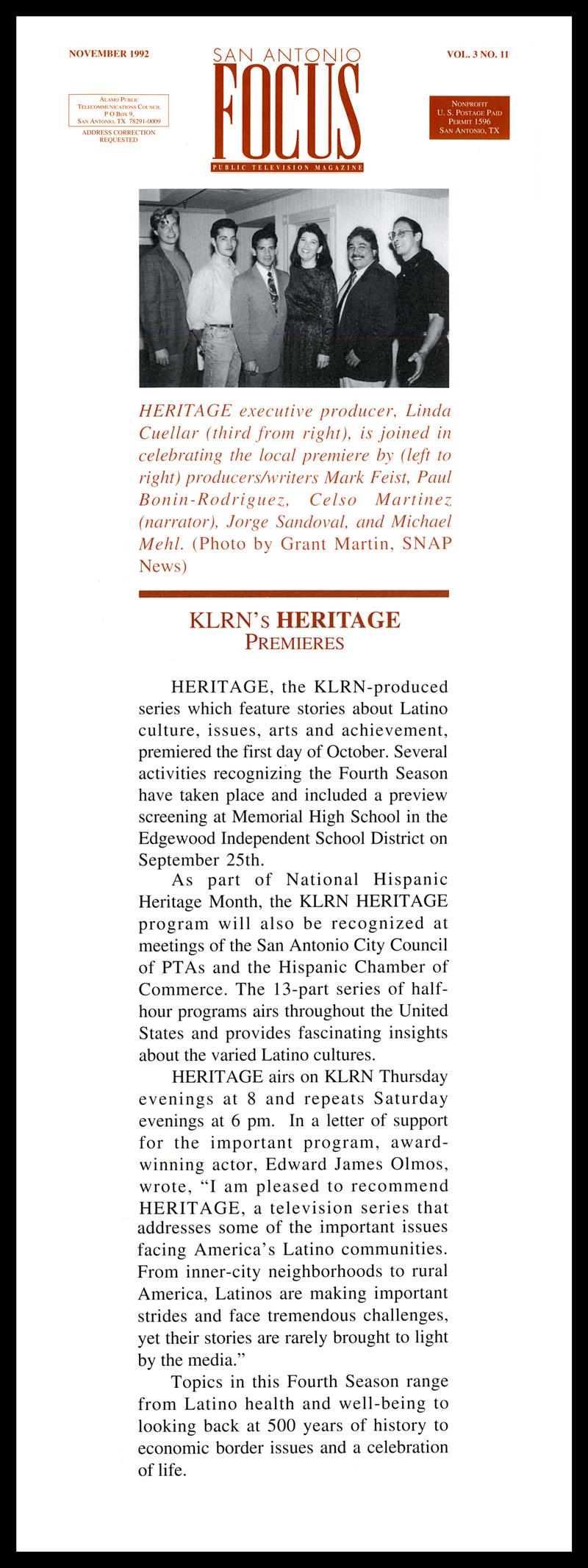 1992_Michael-Mehl_San-Antonio-Focus-Magazine_Heritage-Series-On-KLRN-TV