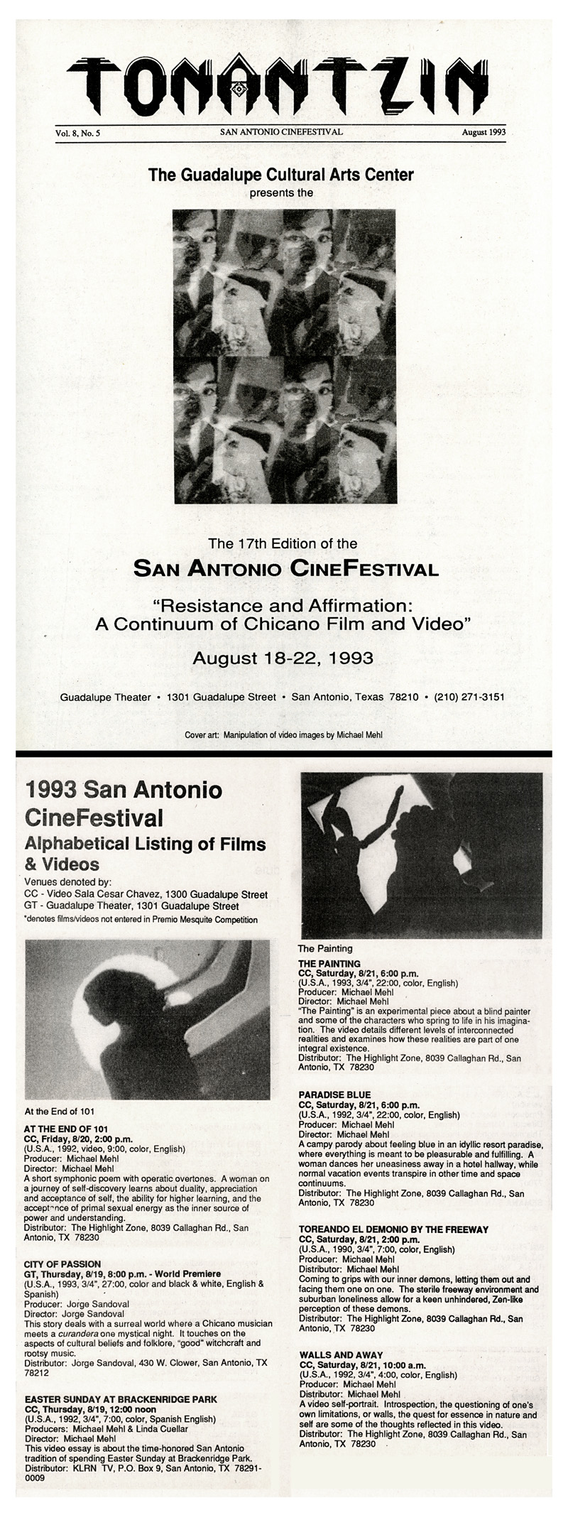 1993_Michael-Mehl_CineFestival-Video-Screenings_Guadalupe-Cultural-Center_San-Antonio-TX