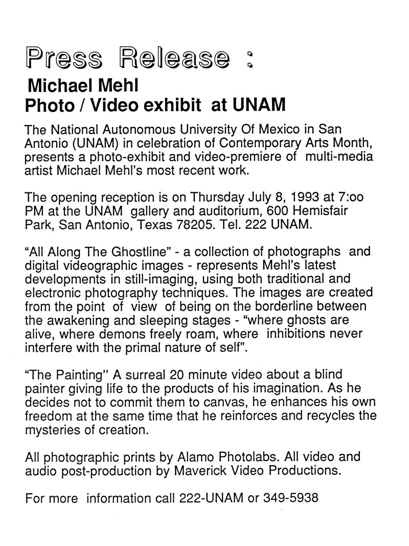 1993_Michael-Mehl_Ghostline-Exhibit_Painting-Video_UNAM-SA-Press-Release