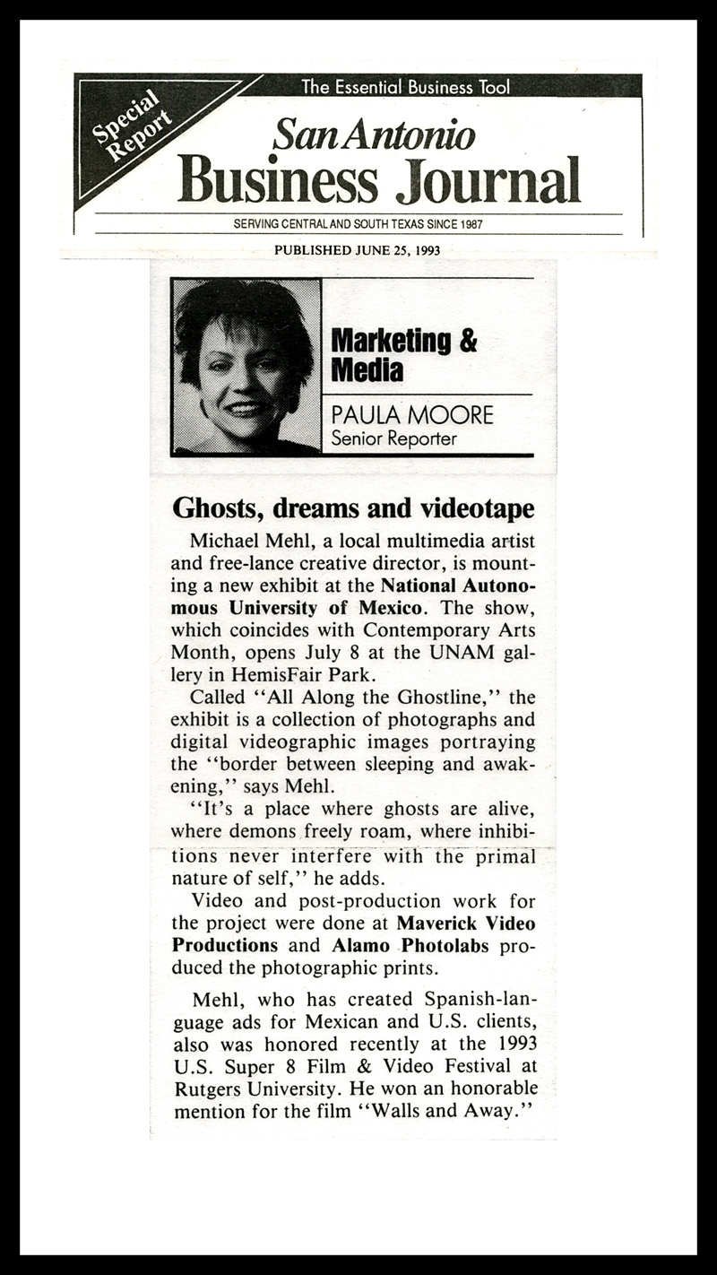 1993_Michael-Mehl_San-Antonio-Business-Journal_Ghostline-The-Painting-Exhibit_UNAM-San-Antonio