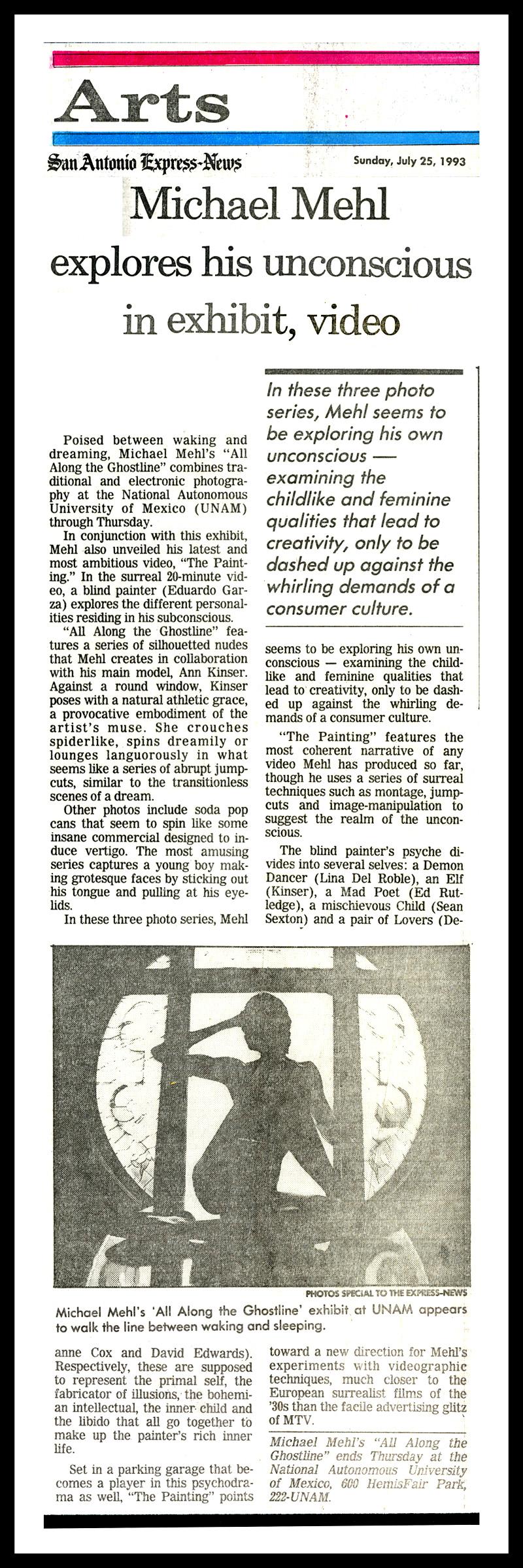 1993_Michael-Mehl_San-Antonio-Express-News_Ghostline-&-The-Painting_UNAM-San-Antonio