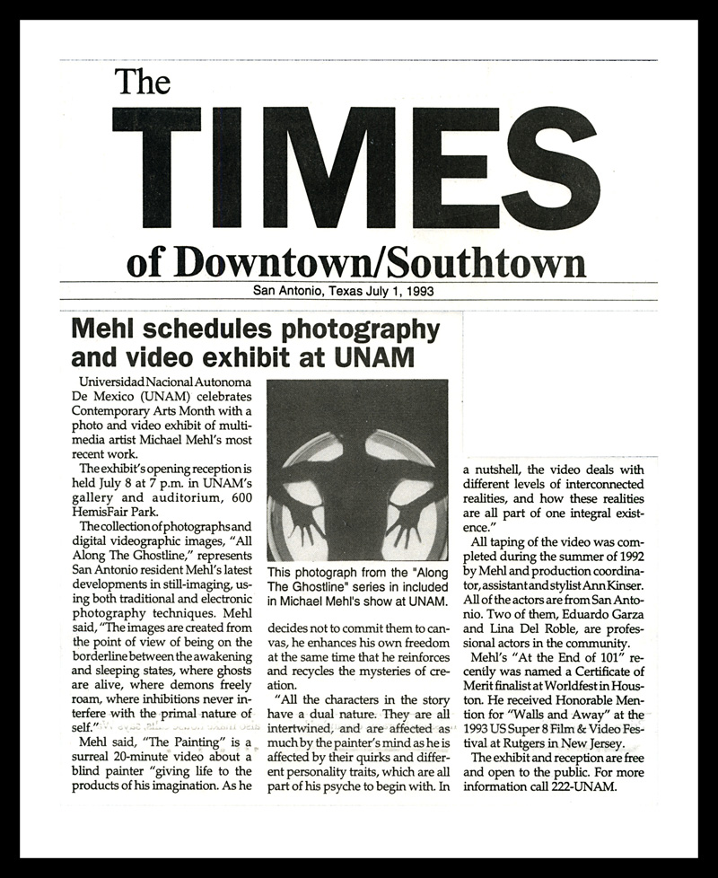 1993_Michael-Mehl_The-Downtown-Times_Ghostline-&-The-Painting_UNAM-San-Antonio