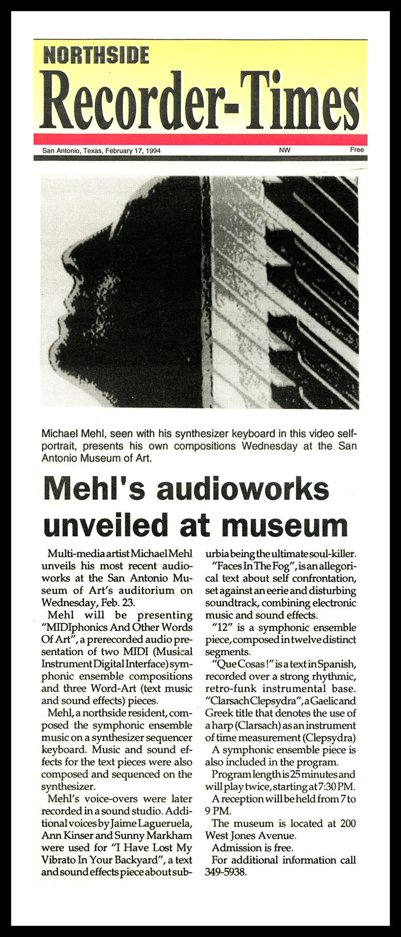1994_Michael-Mehl_Northside-Recorder-Times-Midiphonics-Presentation_San-Antonio-Museum-Of-Art