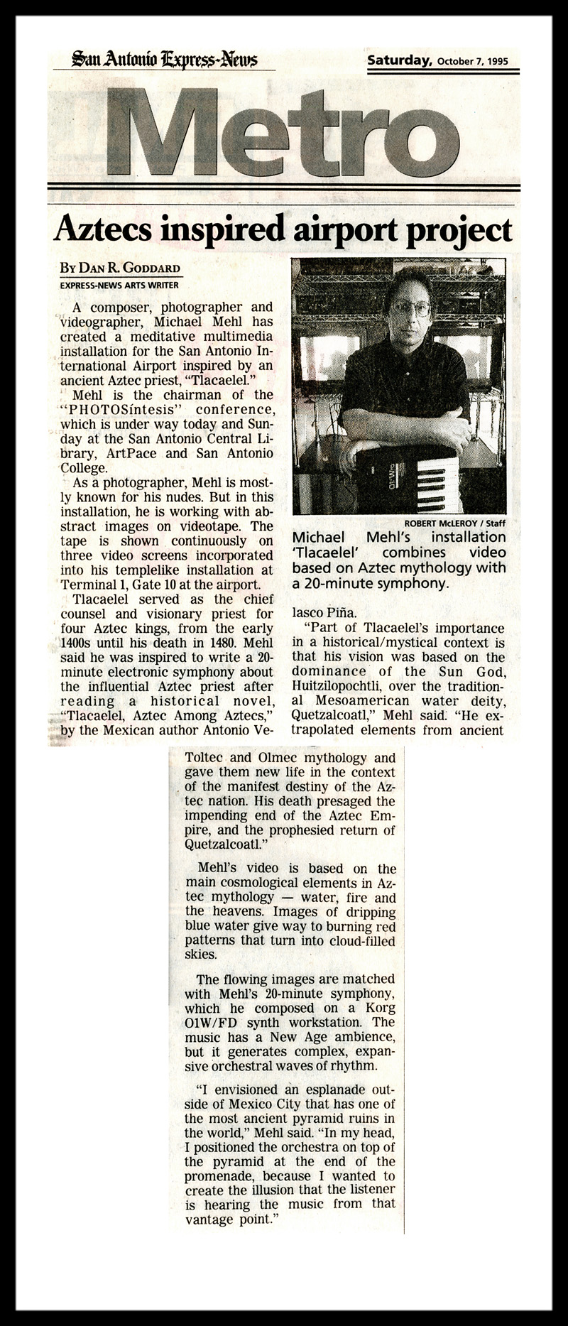 1995_Michael-Mehl_San-Antonio-Express_News_Tlacaelel-Installation_Airport-Art-Spaces