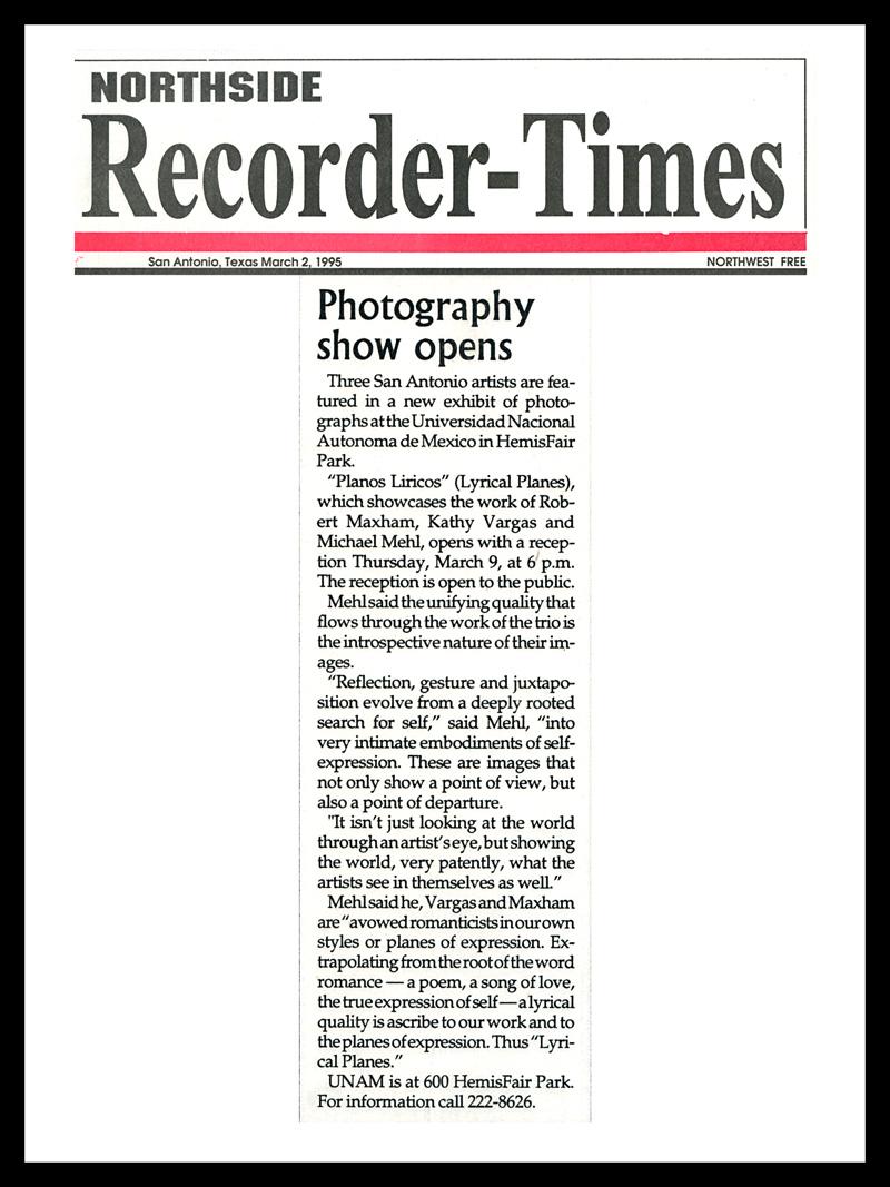 1995_Northside-Recorder-Times_Michael-Mehl_Planos-Liricos-Exhibit_UNAM-San-Antonio