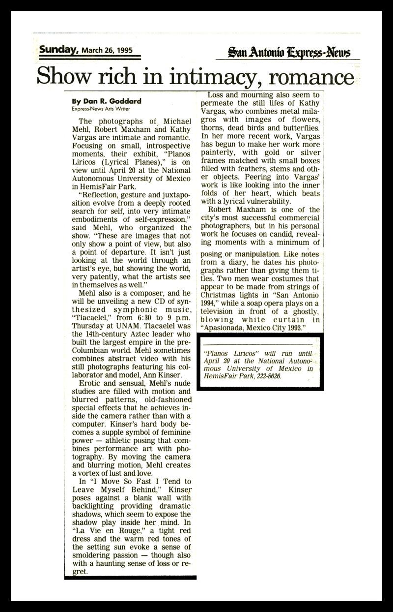 1995_San-Antonio-Express-News_Michael-Mehl_Planos-Liricos-Exhibit_UNAM-San-Antonio