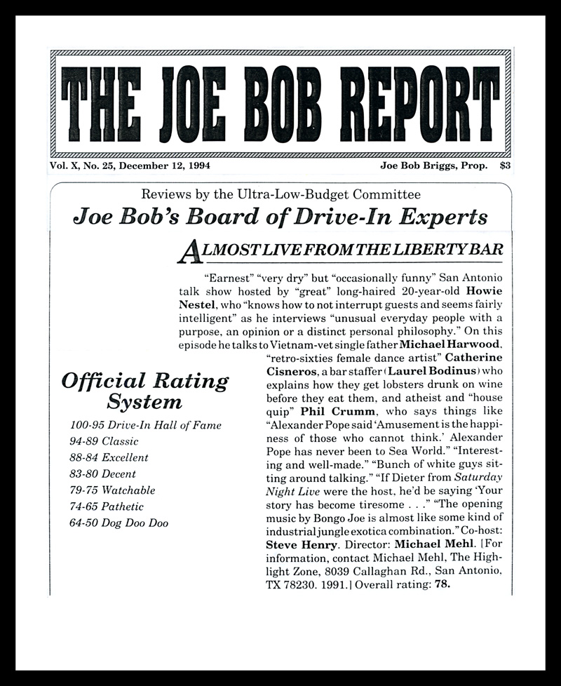 1994_Michael-Mehl_The-Joe-Bob-Report_Almost-Live-From-The-Liberty-Bar