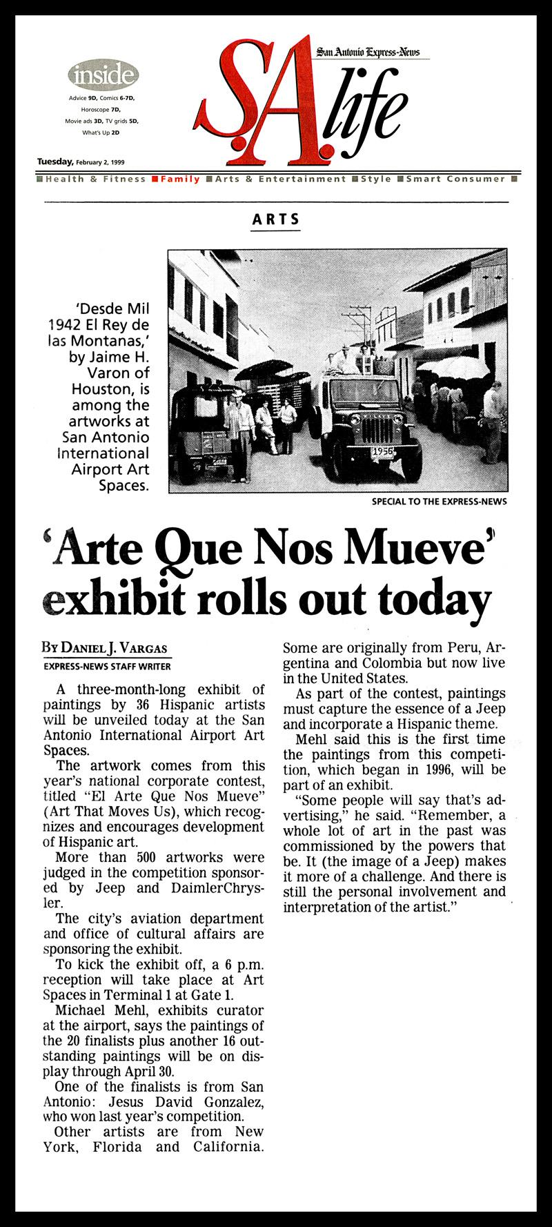 1999_Michael-Mehl_Curator_El-Arte-Que-Nos-Mueve-Exhibit-Airport-Art-Spaces_San-Antonio-Express-News