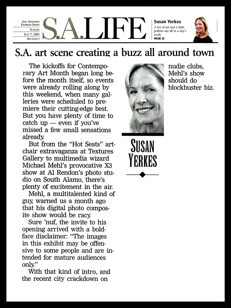 2002_Michael-Mehl_X3-Exhibit_Susan-Yerkes-Column_San-Antonio-Express-News