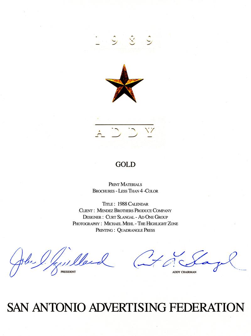 1989_Michael-Mehl_The-Highlight-Zone_ADDY-Award_B&W-Print-Materials_Mendez-Brothers-Calendar