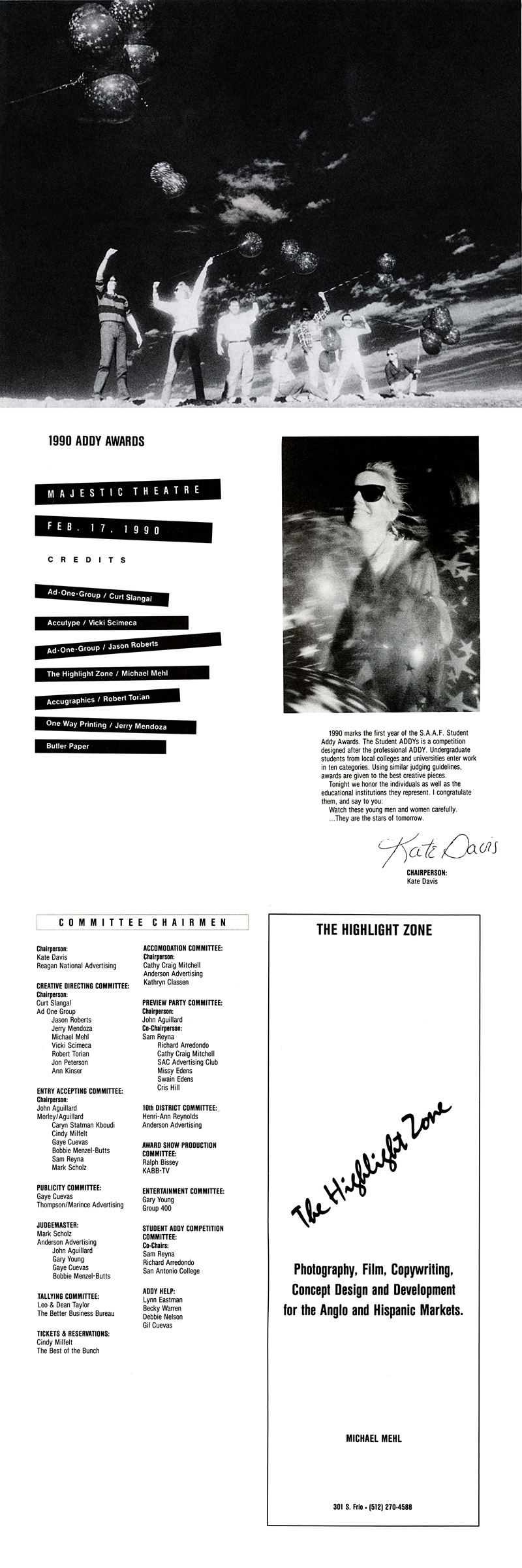1990_Michael-Mehl_The-Highlight-Zone_San-Antonio-Advertising-Federation-1990-ADDY-Awards_Program