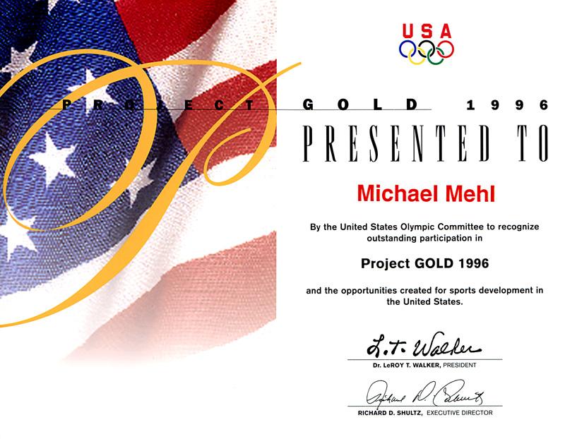 1996_Michael-Mehl_Project-Gold_United-States-Olympic-Committee