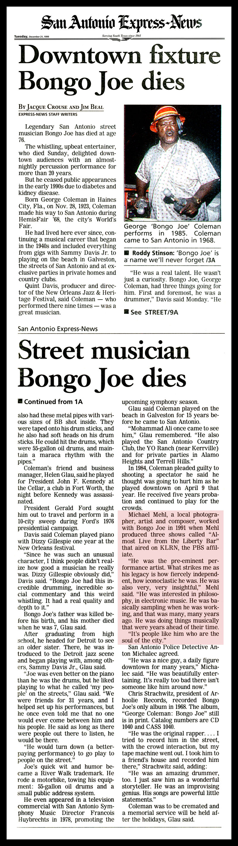 1999_Michael-Mehl_Bongo-Joe-Dies_San-Antonio-Express-News
