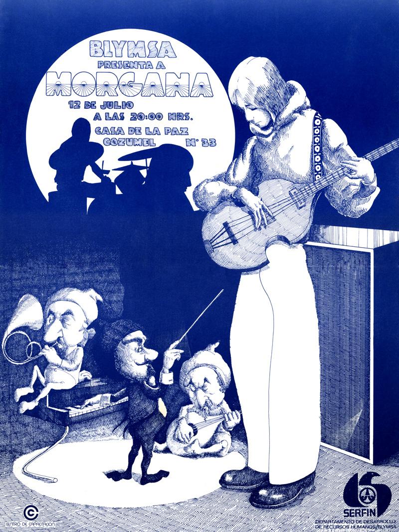 1973_Michael-Mehl_Morgana_BLYMSA-Casa-De-La-Paz-Concert-Poster_Mexico-City