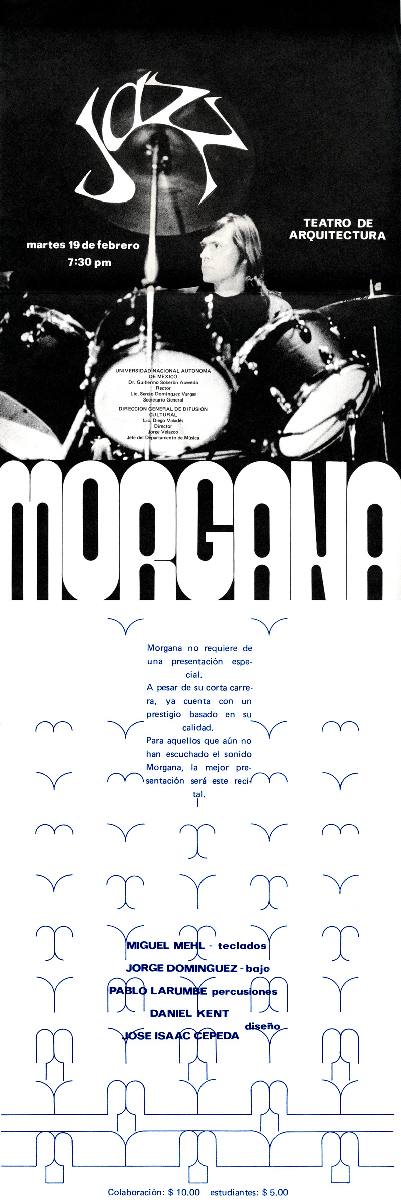 1974_Michael-Mehl_Morgana_UNAM-Arquitectura-Concert-Poster_Mexico-City