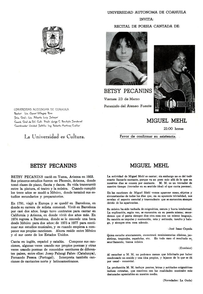 1979_Michael-Mehl-Betsy-Pecanins-Concert-Program_Ateneo-Fuente_Saltillo-Coahuila-Mexico